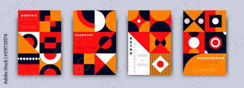 Fototapeta Geometric abstract banners. Bauhaus retro posters set minimal style. Vintage cover design template for banners, placards, flyers, vector isolated illustration obraz