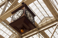 Low Angle View Of Antique Clock At Grand Central Station