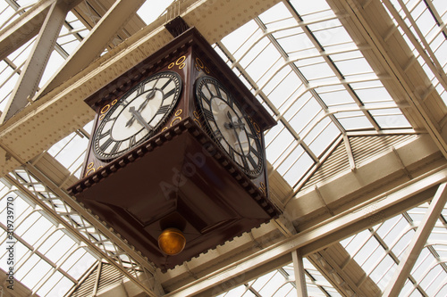 Photo Low Angle View Of Antique Clock At Grand Central Station