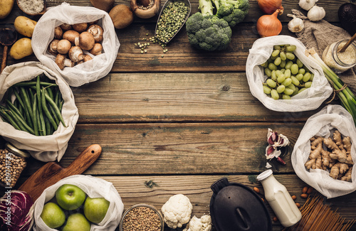 Fototapeta Eco friendly food shopping or cooking concept Plastic free lifestyle obraz