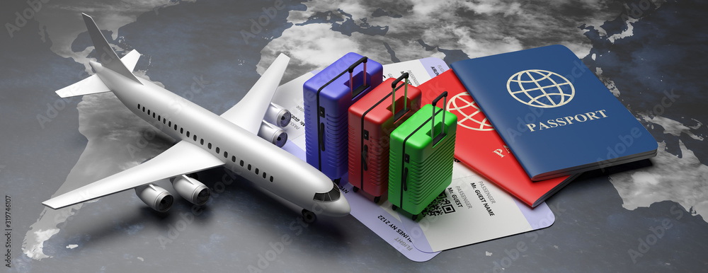 Fototapeta Plane tickets and passports for business trip travel, tourism on world map background. 3d illustration