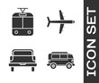 Set Retro minivan, Tram and railway, Pickup truck and Plane icon. Vector