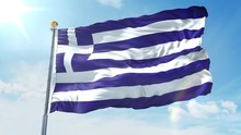 Greece Flag Waving In The Wind Against Deep Blue Sky. National Theme, International Concept. 3D Render Seamless Loop 4K