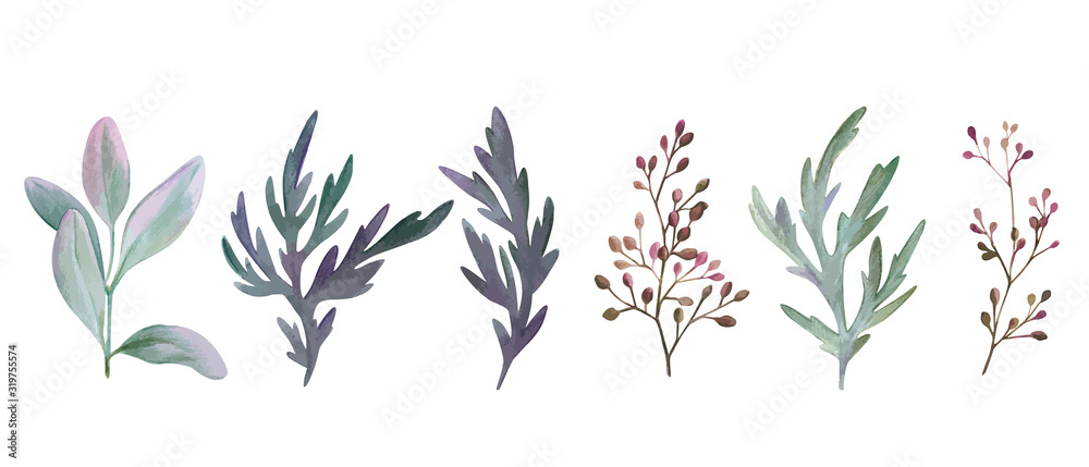 Zestaw akwarela liści i gałęzi, wyciągnąć rękę <span>plik: #319755574   autor: nurofina</span>