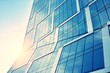 canvas print picture - Modern office building facade abstract fragment, shiny windows in steel structure. Architecture with sun ray. Retro stylized colorful tonal filter effect.