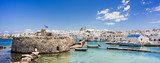 Greece travel banner Naoussa city Paros island famous destination panorama landmark with buildings and sea port