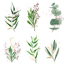 Watercolor Greenery Set Decora...