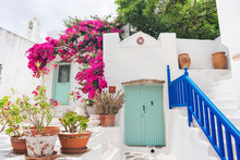 Greece Travel Landscape, Traditional Greek House With Flowers In Paros Island