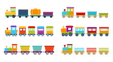 Set Of Bright Toy Trains, Vect...