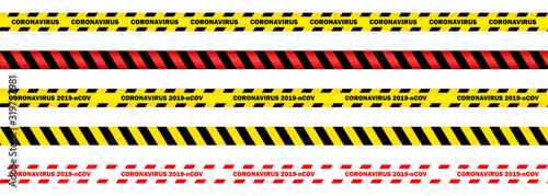 Coronavirus 2019-nCOV, seamless yellow and red security tapes on isolated backgr Canvas Print