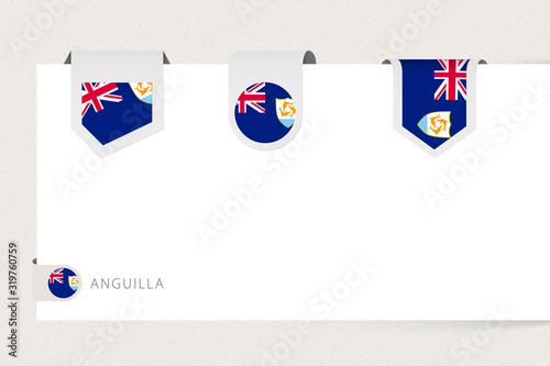 Label flag collection of Anguilla in different shape Canvas Print