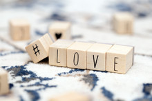 Wooden Cubes With A Hashtag An...
