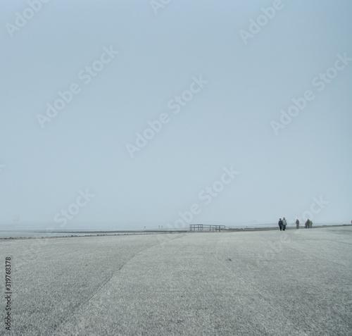 Fototapeta People Walking At Promenade Against Clear Sky