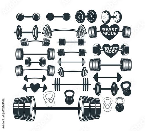 assorted gym weight lift barbel set vector logo design Canvas Print