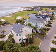 Aerial View Of Resort Island Of Fripp Island With Ocean And Golf Course In South Carolina.