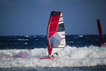 Windsurfer With Red And White ...
