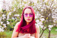 Portrait Of Active Creative Woman With Pink Hair