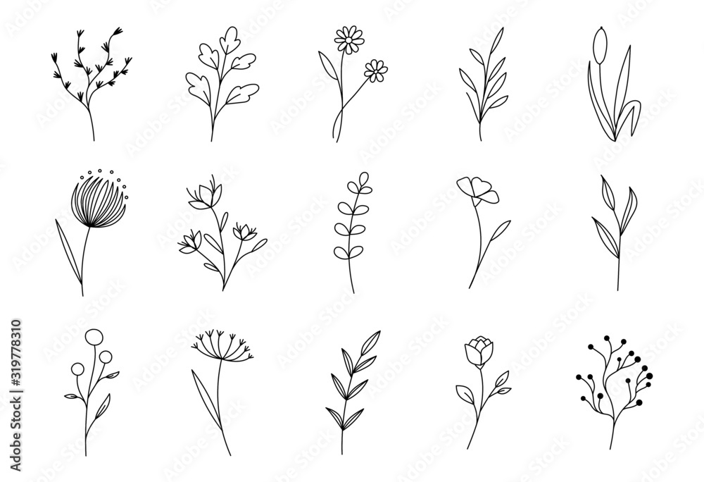 Hand drawn flower set. Vector ink floral doodles, sketch leaves decoration. Modern outline illustration on isolated background for tatoos, t-shirts and textile <span>plik: #319778310 | autor: Екатерина Заносиенко</span>