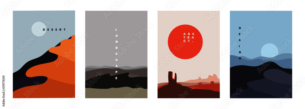 Fototapeta Landscape background, vector illustration. Geometric template with sunrise and sunset in desert in oriental style. Minimalistic abstract poster design
