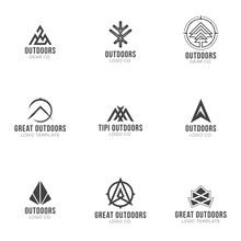 Outdoors Logos. Set Of Outdoors, Nature, Wilderness Abstract Shapes. Vintage Adventure Elements For Badges, Emblems Design.