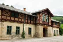 Big Old House Built With Bricks Standing In Reichenau