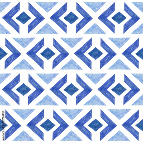 seamless-paper-cut-pattern-with-watercolor-texture-blue-geometric-background