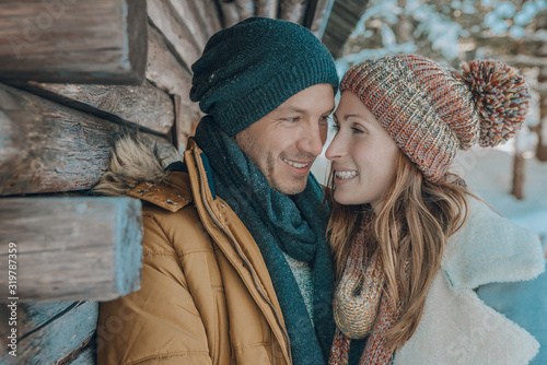 winter snow couple Wallpaper Mural