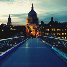 London Millennium Footbridge Leading Towards St Paul Cathedral Against Sky