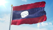 Laos Flag Waving In The Wind A...