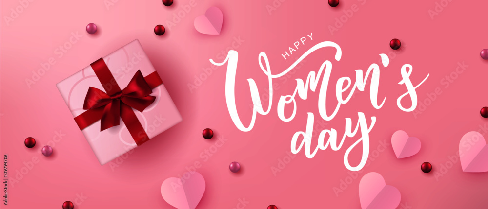 Fototapeta Happy Woman's Day hand lettering text. Vector illustration. 8 March greeting calligraphy design. Template for a poster, cards, banner.