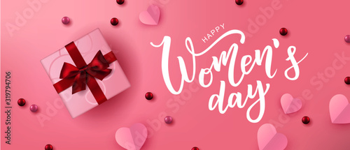 Obraz Happy Woman's Day hand lettering text. Vector illustration. 8 March greeting calligraphy design. Template for a poster, cards, banner. - fototapety do salonu
