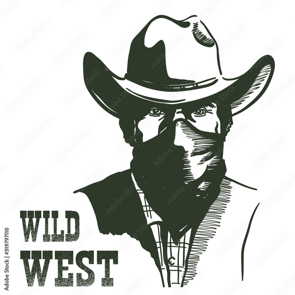 Fototapeta Wild West Cowboy portrait man in bandanna mask. Vector Western bandit man in cowboy hat with text isolated on white