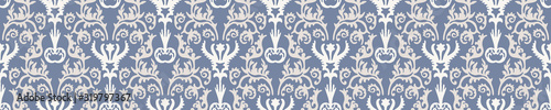 Foto French blue damask shabby chic floral linen vector texture border background