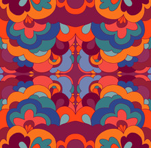 Doodle Psychedelic Vintage Hippie  Colorful Fractal Mandala. Abstract Bizarre Background.