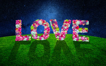 Word Love Made With Many Flowers