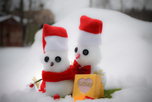Two Snowmen In Love. Snowman G...