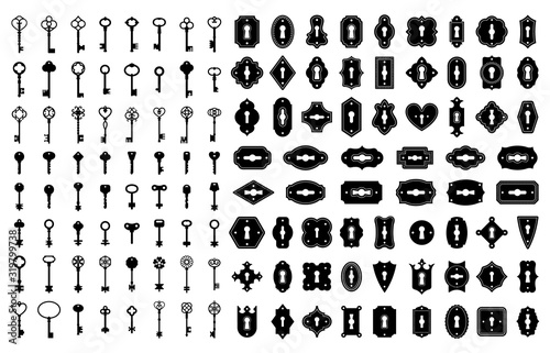 Fotomural Key and keyhole silhouettes
