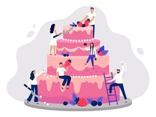 Wedding Cake. Bakers Decorate Pink Wedding Cake, People Cooking Together And Sweet Dessert With Berries Vector Illustration. Happy Men And Women Garnishing Pastry Meal With Cream And Strawberries.