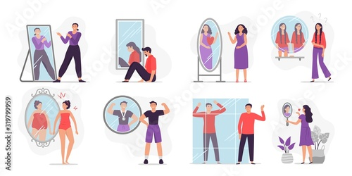 People looking at mirror reflection Wallpaper Mural