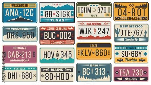 Plakaty stare samochody   streszczenie-usa-stanowi-tablice-rejestracyjne-kolorowa-licencja-na-samochod-retro-szablony-tablic-rejestracyjnych-wektor