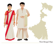 Bengali Couple In Traditional Dress With West Bengal Map Vector