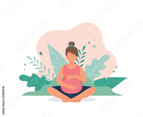 Pregnant woman doing prenatal yoga Wallpaper Mural