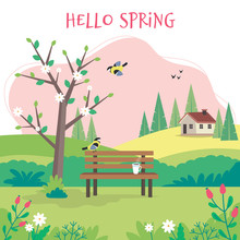 Hello Spring, Landscape With Bench, Flourishing Tree, House, Fields And Nature. Cute Vector Illustration In Flat Style