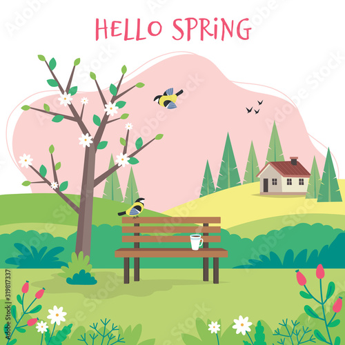 Fototapeta Hello spring, landscape with bench, flourishing tree, house, fields and nature. Cute vector illustration in flat style obraz