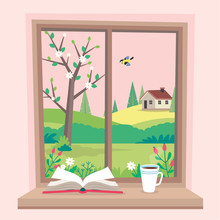 Spring Window With View, A Book And A Coffee Cup On The Sill. Cute Cozy Vector Illustration In Flat Style