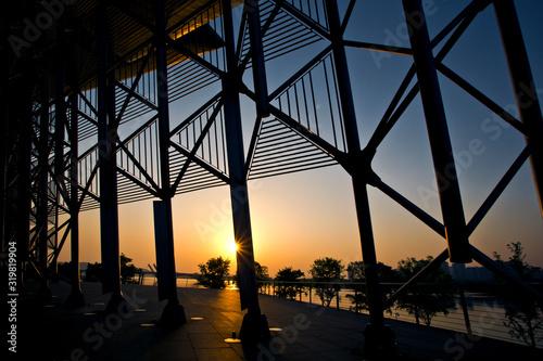Fotografering built structure AGAINST SKY DURING SUNSET