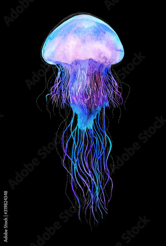 Canvas Print Watercolor jellyfish in modern bright neon colors isolated on black background u