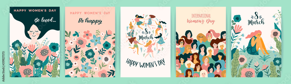 Fototapeta International Women s Day. Vector templates with cute women.