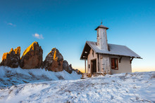 Small White Chapel In Tre Cime...