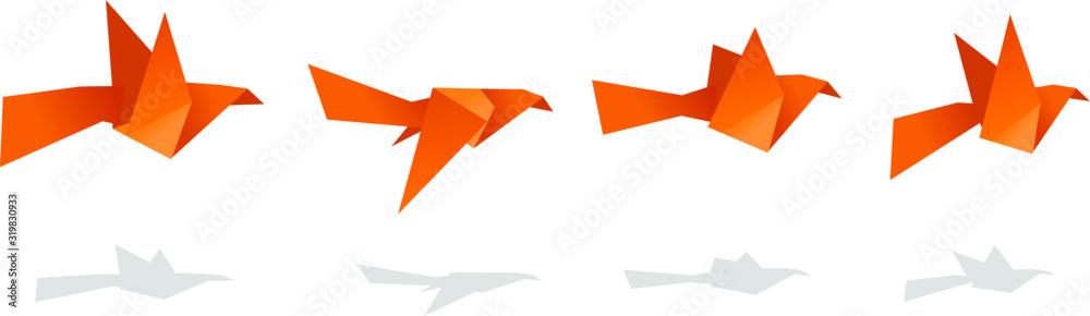 Fototapeta flying paper cranes